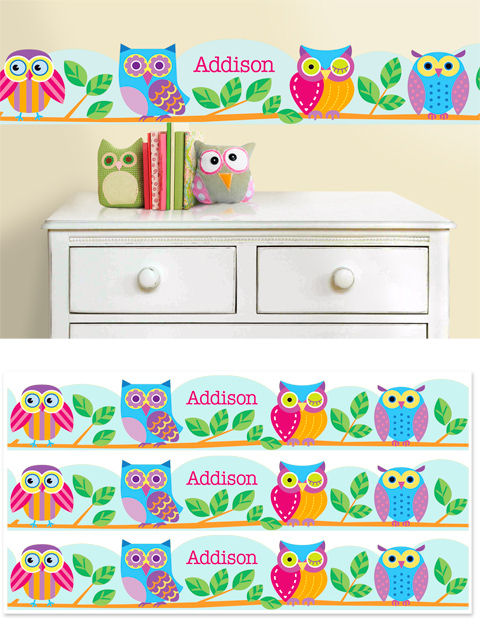 Owls Hoot Personalized Wall Border - Wall Sticker Outlet