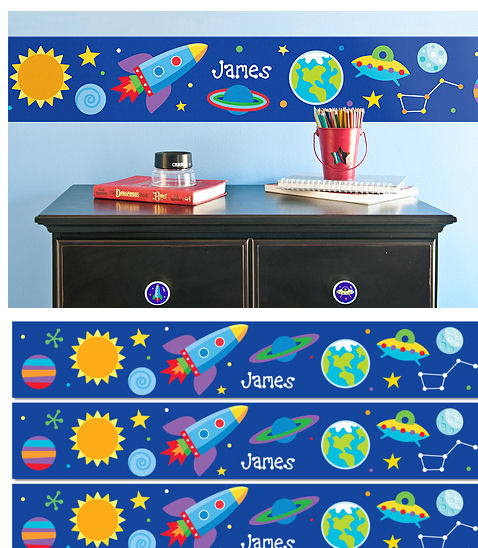 Out of This World Personalized Wall Border - Wall Sticker Outlet