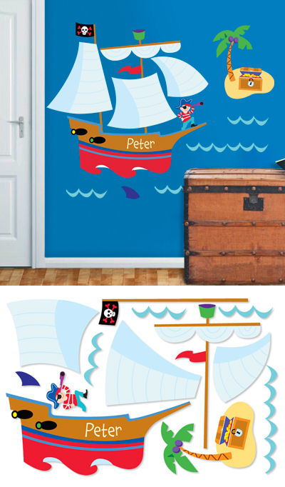 Pirates Personalized Jumbo Wall Mural - Wall Sticker Outlet