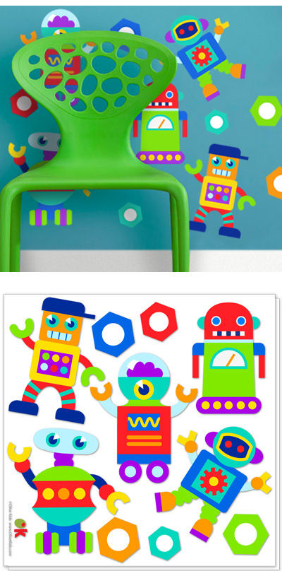 Olive Kids Robots Peel and Stick Decals - Wall Sticker Outlet