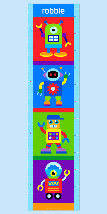 Olive Kids Robots Growth Chart Decal - Wall Sticker Outlet