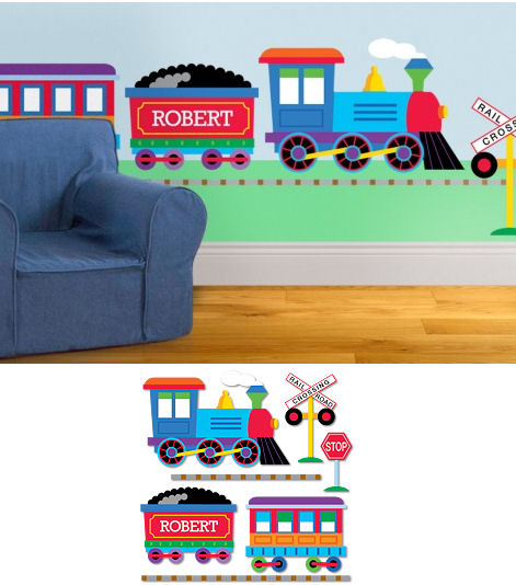 Trains Planes Trucks Personalized Jumbo Wall Mural - Wall Sticker Outlet