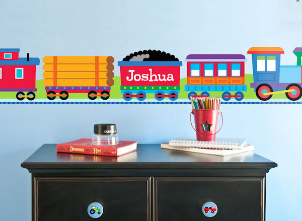 Trains Personalized Wall Border - Wall Sticker Outlet
