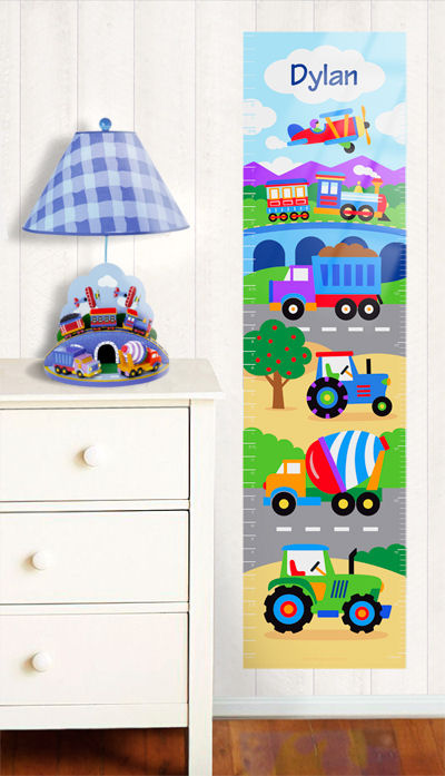 Olive Kids Trains Planes Trucks Growth Chart Decal - Wall Sticker Outlet