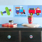 Trains Planes Trucks Personalized Wall Border