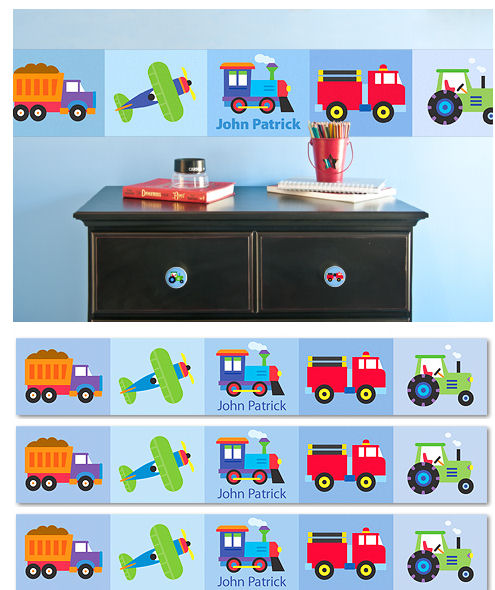 Trains Planes Trucks Personalized Wall Border - Wall Sticker Outlet