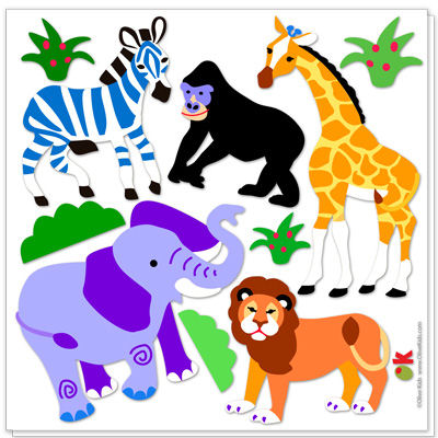 Olive Kids Wild Animals Peel and Stick Decal - Wall Sticker Outlet