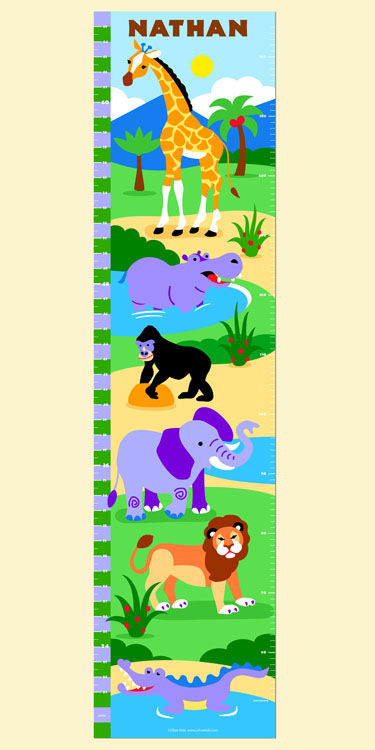 Olive Kids Wild Animals Growth Chart Decal - Wall Sticker Outlet