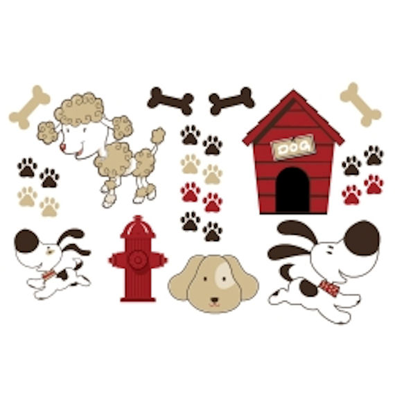 olee kids puppies deco pack peel and stick. Black Bedroom Furniture Sets. Home Design Ideas