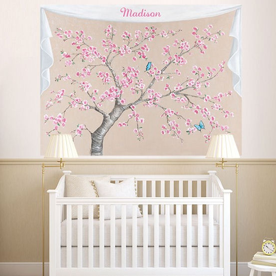Cherry Blossoms Butterfly Personalized Mural Decal - Wall Sticker Outlet