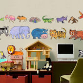 Zoo Creatures Peel and Place Wall Decals