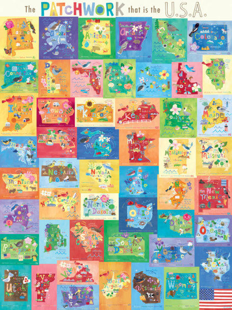 Patchwork That is the USA Mural Decal - Wall Sticker Outlet