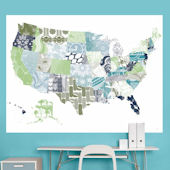 Patriotic Patterns Blue Map Mural Decal