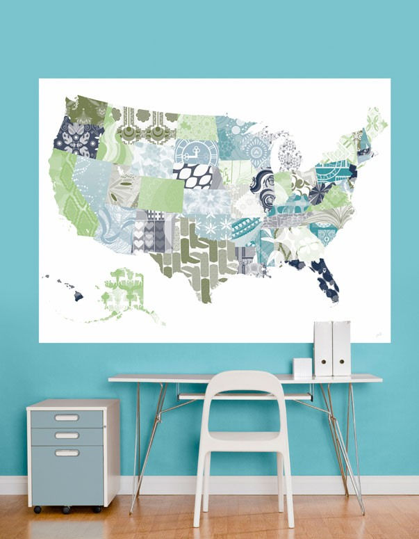 Patriotic Patterns Blue Map Mural Decal - Wall Sticker Outlet