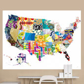 Patriotic Patterns Colorful Map Mural Decal
