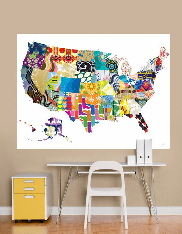 Patriotic Patterns Colorful Map Mural Decal - Wall Sticker Outlet