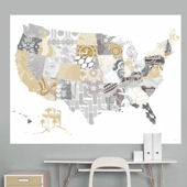 Patriotic Patterns Gray Map Mural Decal
