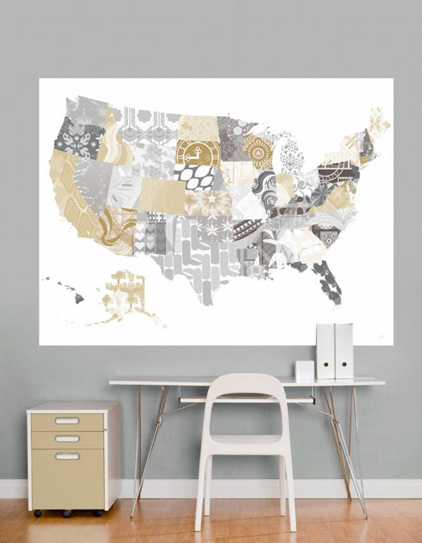 Patriotic Patterns Gray Map Mural Decal - Wall Sticker Outlet