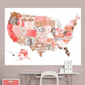 Patriotic Patterns Pink Map Mural Decal