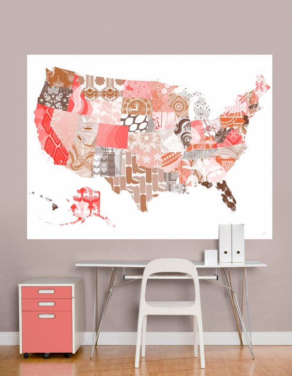 Patriotic Patterns Pink Map Mural Decal - Wall Sticker Outlet