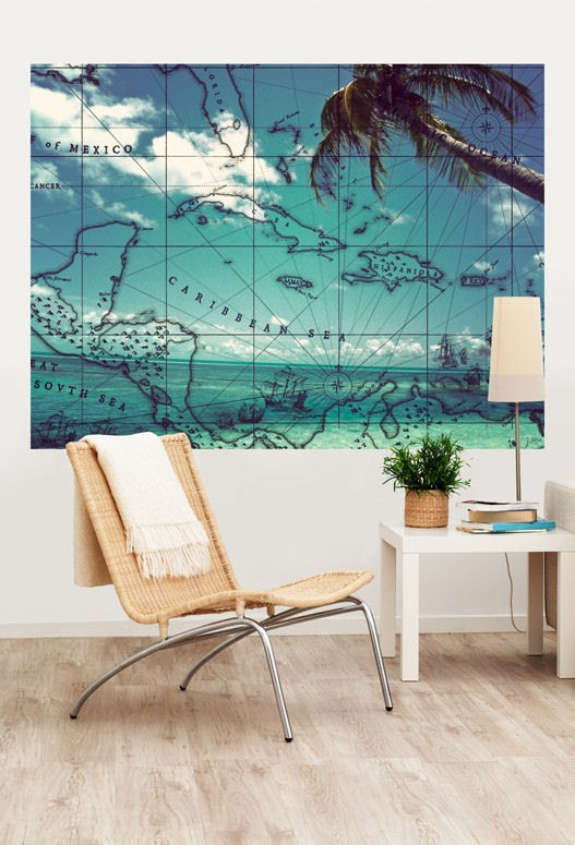 Pirate beach mural decal for Environmental graphics giant world map wall mural