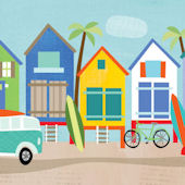 Surf Shacks Mural Decal