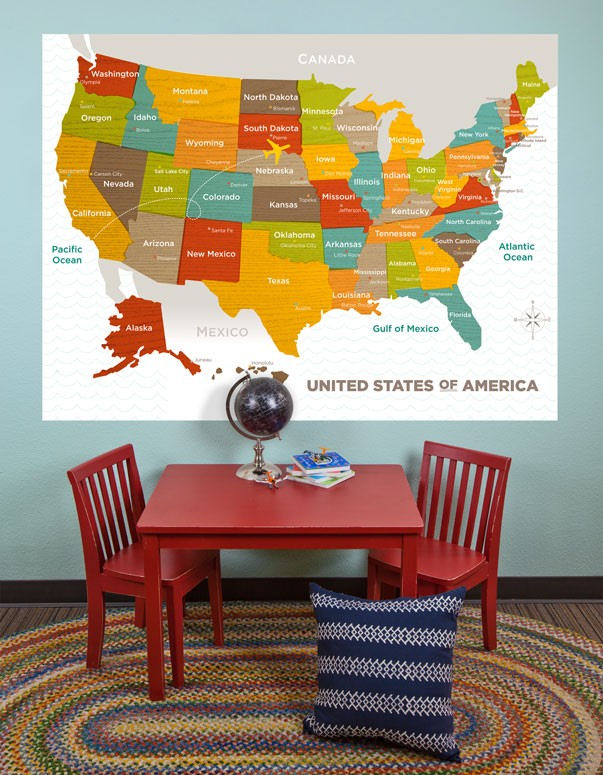 Wood Grain USA Map Mural Decal - Wall Sticker Outlet