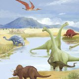 Dinosaur Lake Wall Canvas Art