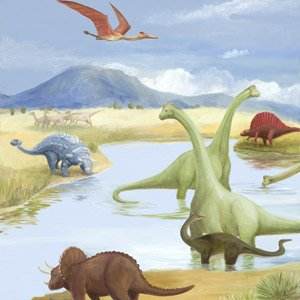 Dinosaur Lake Wall Canvas Art - Wall Sticker Outlet