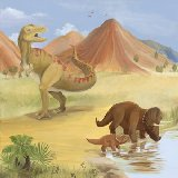 Dinosaur Mountain Wall Canvas Art
