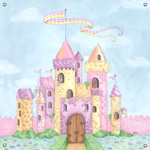 Fairy castle wall mural for Castle mural kids room