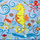 Lime Green Seahorse Wall Canvas Art