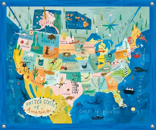 Map of USA Wall Mural - Kids Wall Decor Store