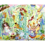 Mermaid Tea Party Wall Canvas Art