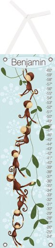 Canvas Monkeying Around Blue Growth Chart - Wall Sticker Outlet