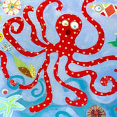 Red Octopus Wall Canvas Art