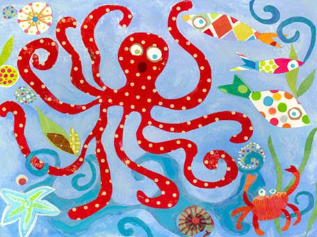 Red Octopus Wall Canvas Art - Wall Sticker Outlet