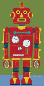 Red Robot Wall Canvas Art - Wall Sticker Outlet