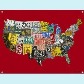 License Plate USA Map Wall Mural