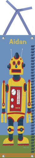 Canvas Yellow Robot Growth Chart - Wall Sticker Outlet
