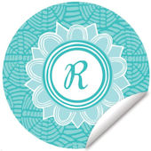 Blossom Monogram Turquoise And White Wall Decal