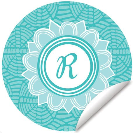 Blossom Monogram Turquoise And White Wall Decal - Wall Sticker Outlet