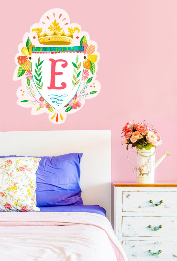 Floral Sheild Monogram Wall Decal - Wall Sticker Outlet