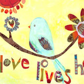 Love Lives Here One Bird Wall Canvas Art