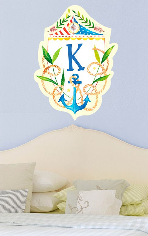 Nautical Sheild Monogram Wall Decal - Wall Sticker Outlet
