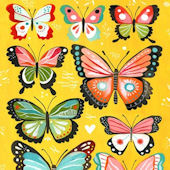 Yellow Butterflies Posters That Stick Wall Decal