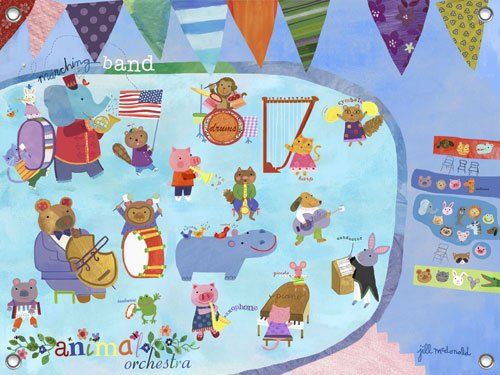 Animal Orchestra Wall Mural - Kids Wall Decor Store