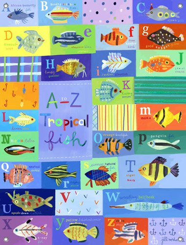 A to Z Tropical Fish Wall Mural - Kids Wall Decor Store