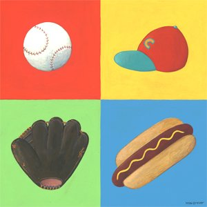 Baseball Four Square Wall Canvas Art - Wall Sticker Outlet