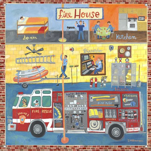 Firehouse Wall Mural - Kids Wall Decor Store